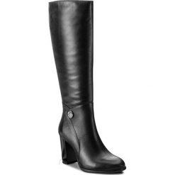 Kozaki KOTYL - 9701 Czarny Lico. Czarne buty zimowe damskie Kotyl, ze skóry, przed kolano, na wysokim obcasie, na obcasie. W wyprzedaży za 379,00 zł.