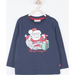 Koszulka. Szare t-shirty chłopięce z długim rękawem Merry Christmas, z nadrukiem, z bawełny. Za 42,90 zł.