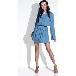 Niebieska Sukienka z Rozkloszowanymi Rękawami. Niebieskie sukienki boho marki Molly.pl, do pracy, l, z wiskozy, mini, rozkloszowane. Za 119,90 zł.