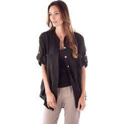 Bluzki damskie: Lniana bluzka w kolorze czarnym