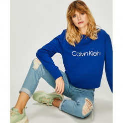 Calvin Klein - Bluza. Szare bluzy z nadrukiem damskie marki Calvin Klein, l, z bawełny, bez kaptura. Za 449,90 zł.