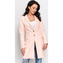 Wiosenny płaszcz flauszowy  r-p002. Czerwone płaszcze damskie pastelowe Butik, xl, eleganckie. W wyprzedaży za 189,00 zł.