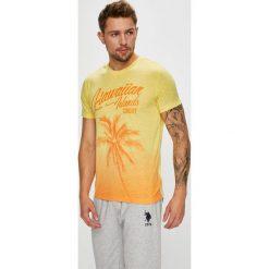 U.S. Polo - T-shirt. Brązowe koszulki polo marki U.S. Polo, l, z nadrukiem, z bawełny. W wyprzedaży za 159,90 zł.