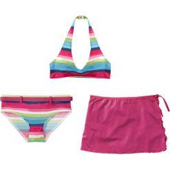 Stroje dwuczęściowe dziewczęce: Bikini+spódniczka dziewczęce (3 cz.) bonprix ciemnoróżowy w paski