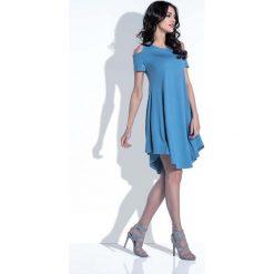 Jeansowa Sukienka z Odkrytymi Ramionami. Niebieskie sukienki mini marki Reserved, z odkrytymi ramionami. Za 102,90 zł.