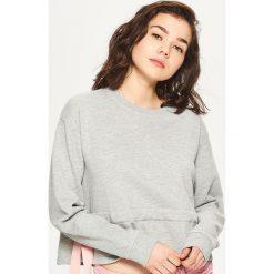 Bluzy rozpinane damskie: Sportowa bluza z falbaną - Jasny szary