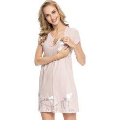 Nocna koszula dla karmiących Tamara Beige. Brązowe bielizna ciążowa marki Astratex, z bawełny, moda ciążowa. Za 100,99 zł.
