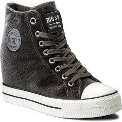 Sneakersy BIG STAR - Y274067 Grey. Szare sneakersy damskie marki BIG STAR, z materiału, na sznurówki. Za 129,00 zł.