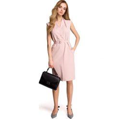 LINDI Sukienka szmizjerka bez rękawów - pudrowa. Czerwone sukienki koktajlowe marki Stylove, do pracy, na lato, s, ze stójką, bez rękawów, dopasowane. Za 169,90 zł.