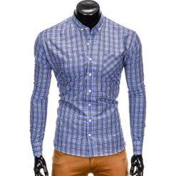 KOSZULA MĘSKA W KRATĘ Z DŁUGIM RĘKAWEM K394 - BŁĘKITNA. Niebieskie koszule męskie na spinki Ombre Clothing, m, z długim rękawem. Za 69,00 zł.