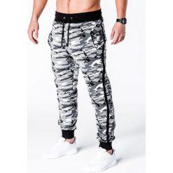 SPODNIE MĘSKIE DRESOWE P183 - CZARNE/CAMO. Czarne spodnie dresowe męskie Ombre Clothing, z bawełny. Za 49,00 zł.