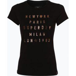 Superdry - T-shirt damski, czarny. Szare t-shirty damskie marki Superdry, l, z tkaniny, z okrągłym kołnierzem, na ramiączkach. Za 189,95 zł.