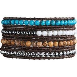 Bransoletki damskie: Skórzana bransoletka z jaspisem, hematytem i kryształkami