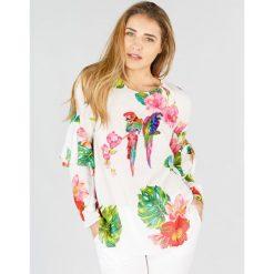 Bluzki asymetryczne: Kwiecista bluzka z okrągłym dekoltem, długi rękaw