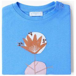 Mango Kids - Top dziecięcy Azule 80-104 cm. Niebieskie bluzki dziewczęce bawełniane Mango Kids, z nadrukiem, z okrągłym kołnierzem. W wyprzedaży za 19,90 zł.