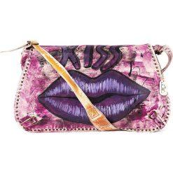 Torebki klasyczne damskie: Skórzana torebka w kolorze różowo-fioletowym - 43 x 28 x 6 cm