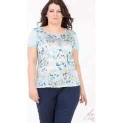 T-shirty damskie: Kwiatowy t-shirt z dżetami Plus