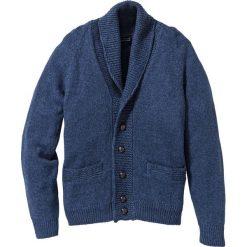 Sweter rozpinany Regular Fit bonprix ciemnoniebieski melanż. Niebieskie kardigany męskie marki bonprix, m, melanż, ze skóry. Za 59,99 zł.