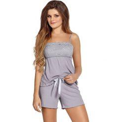 Elegancka damska piżama Colette. Szare piżamy damskie Astratex, w koronkowe wzory, z elastanu, z krótkim rękawem. Za 96,99 zł.
