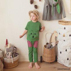 Bluza z krótkim rękawem misiek. Zielone bluzy chłopięce rozpinane marki Pakamera, z bawełny, z krótkim rękawem. Za 71,00 zł.