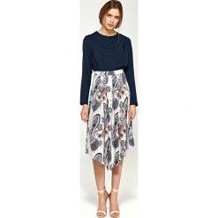 Bluzki asymetryczne: Granatowa Elegancka Wyjściowa Bluzka z Draperiami