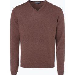 Swetry klasyczne męskie: Finshley & Harding – Sweter męski z kaszmiru i jedwabiu, brązowy