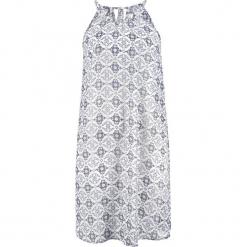 Sukienka plażowa bonprix niebiesko-biały z nadrukiem. Niebieskie sukienki z falbanami bonprix, na plażę, z nadrukiem, z szyfonu. Za 89,99 zł.