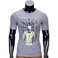 T-SHIRT MĘSKI Z NADRUKIEM S813 - SZARY. Szare t-shirty męskie z nadrukiem Ombre Clothing, m. Za 29,00 zł.