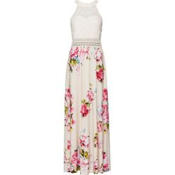 Sukienka letnia z kwiatowym nadrukiem i koronką bonprix beżowo-lila-jasnoróżowy. Brązowe sukienki koronkowe marki bonprix, na lato, w koronkowe wzory. Za 149,99 zł.