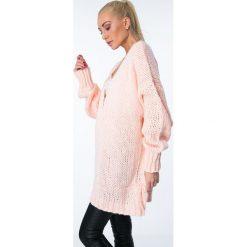 Swetry oversize damskie: Sweter niezapinany oversize łososiowy MISC8895
