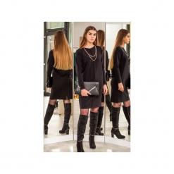 Czarna sukienka z przeszyciem. Czarne długie sukienki 3 for u, na co dzień, l, z długim rękawem, proste. Za 189,00 zł.