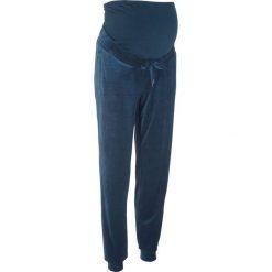 Spodnie ciążowe z dzianiny welurowej nicki bonprix ciemnoniebieski. Niebieskie spodnie ciążowe marki bonprix, w paski, z dżerseju. Za 109,99 zł.