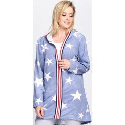 Niebieska Bluza Listen To Me. Niebieskie bluzy rozpinane damskie marki Born2be, l, z długim rękawem, długie, z kapturem. Za 34,99 zł.