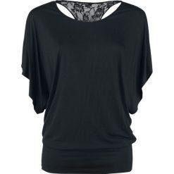 Forplay Lace Back Bat Wings Koszulka damska czarny. Czarne bluzki damskie Forplay, xl, w koronkowe wzory, z koronki, z dekoltem w łódkę. Za 121,90 zł.