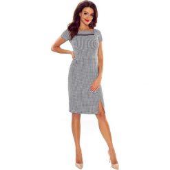Sukienki: TAMINA elegancka sukienka z siateczkową wstawką pepitka duża