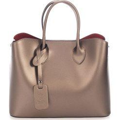 Torebki klasyczne damskie: Skórzana torebka w kolorze miedzianym – 32 x 14 x 25 cm
