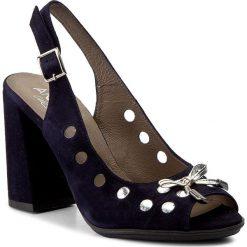 Rzymianki damskie: Sandały ANN MEX - 8022 05W Srebro/Granat
