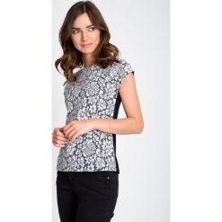 Bluzki damskie: Biało-czarna koronkowa bluzka QUIOSQUE