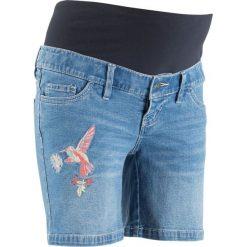 Szorty dżinsowe ciążowe bonprix niebieski bleached. Niebieskie spodnie ciążowe marki bonprix, w paski, z dżerseju. Za 109,99 zł.