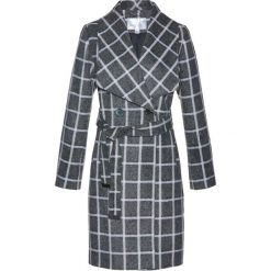 Płaszcze damskie: Płaszcz żakietowy z domieszką wełny bonprix szaro-biel wełny w kratę