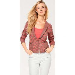 Swetry damskie: Sweter rozpinany w kolorze koralowo-szarobrązowym