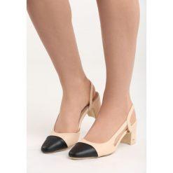 Beżowe Sandały Selaut. Brązowe sandały damskie na słupku Born2be, z materiału, na wysokim obcasie. Za 49,99 zł.