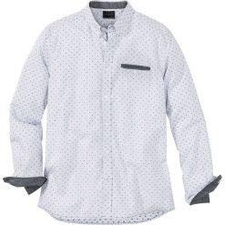 Koszula z długim rękawem w delikatny deseń Regular Fit bonprix biało-czarny w kropki. Białe koszule męskie marki bonprix, z klasycznym kołnierzykiem, z długim rękawem. Za 74,99 zł.