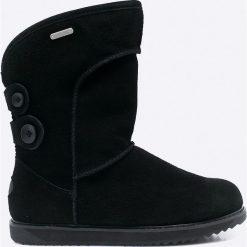 Emu Australia - Botki Charlotte. Czarne buty zimowe damskie EMU Australia, z materiału, z okrągłym noskiem, na obcasie. W wyprzedaży za 499,90 zł.