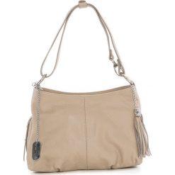 Torebki klasyczne damskie: Skórzana torebka w kolorze beżowym – 30 x 20 x 8 cm