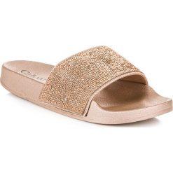 Chodaki damskie: Złote klapki z kryształkami CELESTE