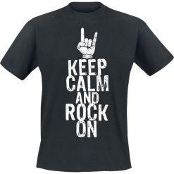 Keep Calm And Rock On T-Shirt czarny. Białe t-shirty męskie z nadrukiem marki Bosari, l. Za 54,90 zł.