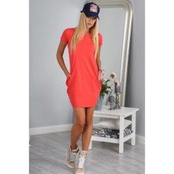 Sukienka koralowa z krótkim rękawem  9967. Pomarańczowe sukienki Fasardi, l, z krótkim rękawem, mini, oversize. Za 39,00 zł.