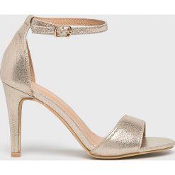 Answear - Sandały. Szare rzymianki damskie ANSWEAR, z materiału, na obcasie. W wyprzedaży za 99,90 zł.