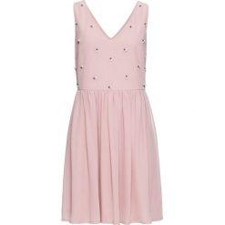 Sukienki: Sukienka wieczorowa z aplikacją z perełek bonprix różowobrązowy